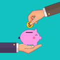 Vector Modern Flat Illustration On Hand Putting Coin Into The Money Box. Happy Piggy Bank Receiving A Coin. Savings Royalty Free Stock Photo - 91932515