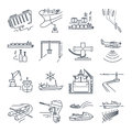 Set Of Thin Line Icons Water Transport And Sea Port, Gas Tanker Royalty Free Stock Image - 91949206