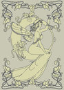Beautiful Poster In Art Nouveau Style With Fairy Woman And Moon And Floral Frame Stock Images - 91953244