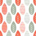 Seamless Nature Vector Pattern. Orange And Green Leaves With Lines And Twigs On White Background. Hand Drawn Autumn Ornament Stock Photos - 91967383