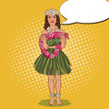 Hawaiian Girl With Traditional Tropical Flower Necklace. Pop Art Illustration Stock Images - 91980824