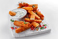 Crispy Halloumi Cheese Sticks Fries With Yogurt For Dipping And Pomegranate Seeds. Royalty Free Stock Photography - 91983497