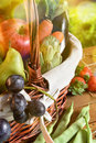 Fruits And Vegetables In A Wicker Basket On Table Vertical Royalty Free Stock Image - 91989876