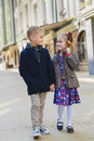 Brother And Sister Outdoors In City On Beautiful Spring Day Royalty Free Stock Photos - 91989928