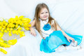 Little Girl With Bouquet Of Tulips Royalty Free Stock Images - 91998289