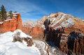 Winter View From Scouts Lookout On Angels Landing Hiking Trail In Zion National Park In Utah Royalty Free Stock Images - 92003359