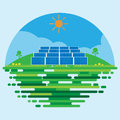 Photovoltaic Power Station Or Solar Farm Flat Scene Background Vector Design. Stock Images - 92006874