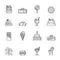 Desert Vector Icon Set. Cupcake, Sweets And Other Baking Foods. Outline Illustrations Isolate On White Background Stock Images - 92018434