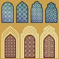 Islamic Windows And Doors With Arabian Art Ornament Pattern Vector Set Royalty Free Stock Images - 92019319