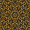 Vector Seamless Texture. Golden Vintage Pattern On Black Background. Arabesque And Floral Ornaments Stock Image - 92022911