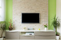 Modern Living Room Interior - Tv Mounted On Brick Wall With Black Screen Stock Photography - 92067382