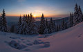 Winter Sunset Snow Field On Top Of Mountain With Frosty Pine Trees On The Background Of Taiga Forest And Hills Under Colorful Sky. Stock Photography - 92106282