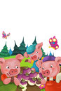 Cartoon Happy And Funny Farm Scene With Cheerful Pigs Looking At Turnips Royalty Free Stock Photos - 92112428