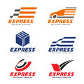 Express Delivery Service Logo With Transport Car , Box , Arrow Circle And Bird Sign Vector Set Design Stock Image - 92115651
