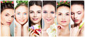 Beautiful Women With Flowers. Perfect Face Stock Image - 92123781
