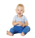 Baby Over White Background, Happy Kid One Year, Child Boy Stock Photography - 92127062