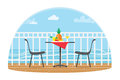 Chairs And Table On The Terrace Balcony In The Restaurant View Over The Sea. Water Landscape. Pineapple. Flat Vector Royalty Free Stock Photo - 92132015
