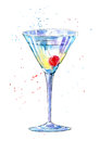 Glass Of A Martini With Cherry.Picture Of A Alcoholic Drink. Royalty Free Stock Images - 92135229