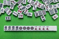 Full Of Mahjong Tiles On Green Background Royalty Free Stock Photography - 92138287