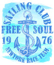 Sailing Club Logo With Anchor Royalty Free Stock Photography - 92151807