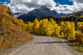 Country Road 12 Out Of Ridgway Colorado Towards San Juan Mountains With Autumn Color Stock Image - 92152381