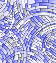 Stained Glass Illustration Abstract Mosaic Background Of  Tiles On A Dark Background,blue Tone Stock Image - 92160511