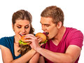 Couple Eating Fast Food. Man And Woman Eat Hamburger. Royalty Free Stock Photography - 92167467