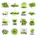 Vector Eco, Organic, Bio Logos Or Signs. Vegan,healthy Food Badges,tags Set For Cafe,restaurants,products Packaging Etc. Stock Images - 92170944