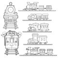 Set Of Train Cartoon , Train Travel With Kids And Friend Coloring Page For Toddler Vector Royalty Free Stock Images - 92177459