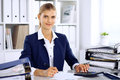 Modern Business Woman Or Confident Female Accountant In Office Stock Images - 92182894