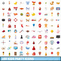 100 Kids Party Icons Set, Cartoon Style Stock Images - 92185674