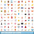 100 Children Day Icons Set, Cartoon Style Stock Photography - 92185742