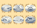 Retro Landscapes Vector Illustration Farm House Agriculture Graphic Countryside Scenic Antique Drawing. Royalty Free Stock Photography - 92204317