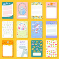 Cute Planner Children Notebooks Print Design Funny Organizer Greeting Note Card Template Vector Illustration. Royalty Free Stock Image - 92215486