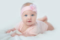 Portrait Of Adorable Baby Girl In Pink Dress Stock Photography - 92220982