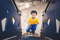 Cute Little Asian Boy In A Park On A Nice Day Outdoors Royalty Free Stock Image - 92222606