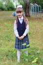 Pretty Little School Girl In Uniform Poses In School Park Royalty Free Stock Images - 92230019