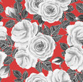 White Roses Watercolor Seamless Pattern Royalty Free Stock Photos - 92236478