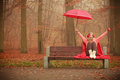Girl In Autumn Park Enjoying Hot Drink Royalty Free Stock Image - 92245256