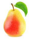 Ripe Pear With Green Leaf Isolated Stock Images - 92251244