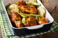 Delicious Chicken Baked With Fennel Bulbs In A Baking Dish Close Royalty Free Stock Images - 92256339