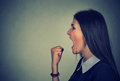 Side Profile Portrait Angry Young Woman Screaming Royalty Free Stock Photo - 92268845