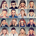 Group Of Stressed Sad People Men And Women Having Headache Stock Image - 92268921