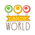 Candy World Logo. Sweet Bakery Emblem. Colorful Hand Drawn Label Royalty Free Stock Photos - 92298088