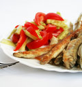 Fish -smelt In Flour Crust Appetizer With Salad Stock Photos - 9232113