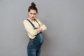 Angry Pregnant Woman With Arms Crossed. Royalty Free Stock Photography - 92308027