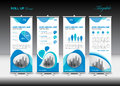 Blue Roll Up Banner Template And Infographics, Stand Design Royalty Free Stock Images - 92314639