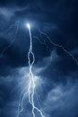 Summer Storm With Thunder, Lightnings And Rain At Night Stock Images - 92345754
