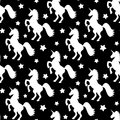 Seamless Pattern Illustration With White Stars And Unicorns On Black Background Royalty Free Stock Photo - 92348065