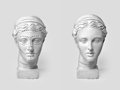 Two Marble Heads Of Young Women, Ancient Greek Goddess Bust Marked With Lines For Plastic Surgery And Sculpture After Stock Images - 92358394